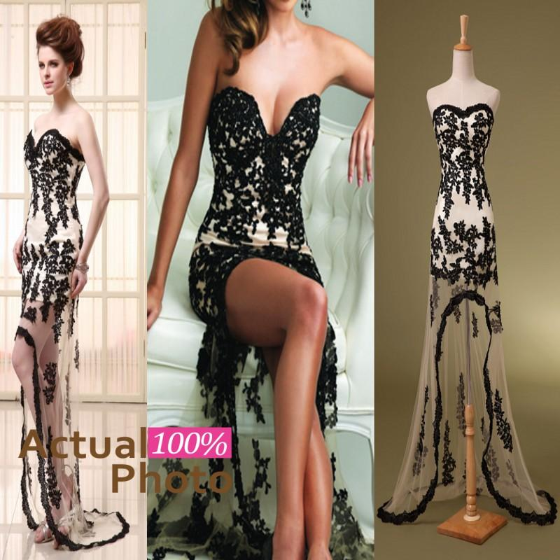 Discount sweetheart sheath embroidery evening gowns strapless hi lo online with $66.26/piece