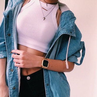 tank top crop tops white jewels necklace layered shark tooth shark tooth necklace jacket denim vintage tumblr urban girl outfit
