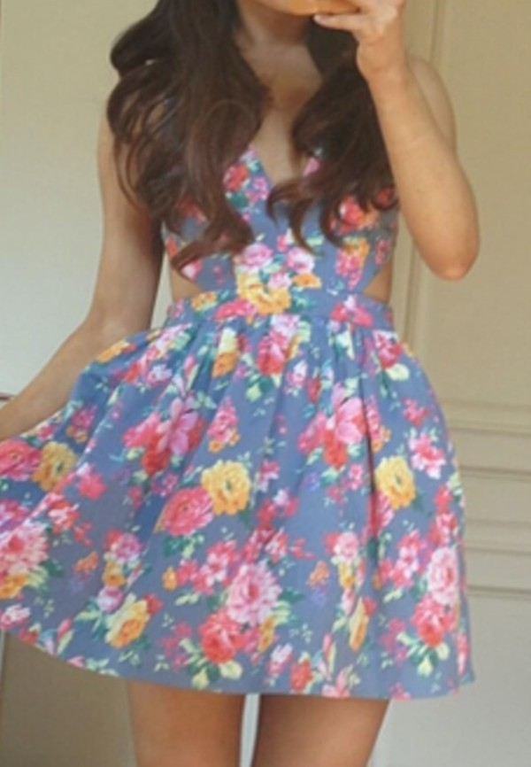 dress floral cut out ariana cute grey