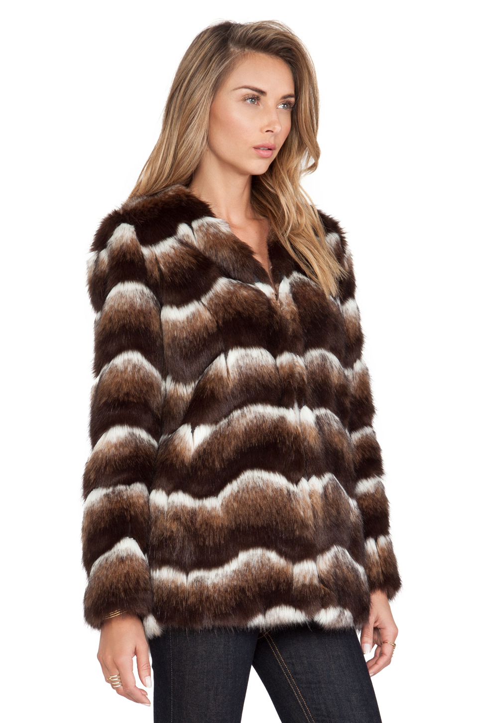 heartLoom Tess Faux Fur Jacket in Coco from REVOLVEclothing.com