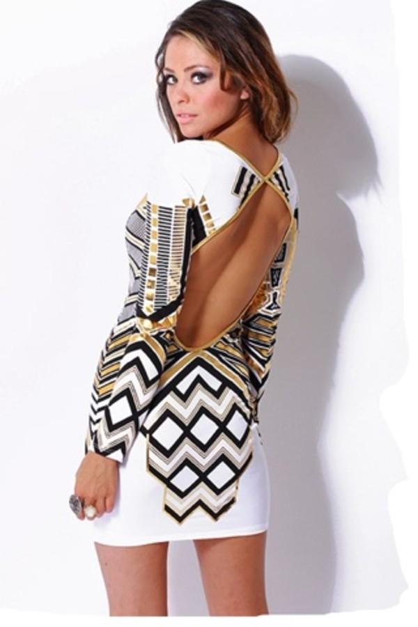 dress open back dresses geometrical bodycon dress