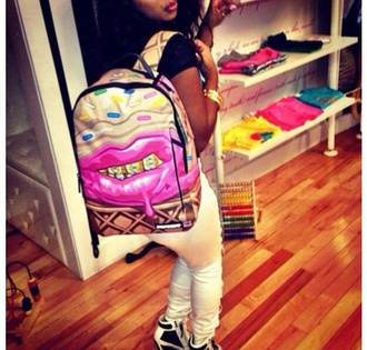 bag pink bookbag gold grillz sprinkles ice cream girl bag white school bag