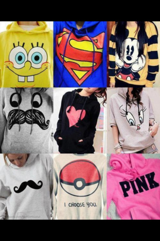 sweater sweatshirt pink white grey sweater grey yellow black heart mickey mouse superman red blue moustache mustard sweater pokeball pokemon spongebob