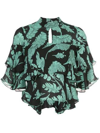 blouse cropped ruffle women black silk top