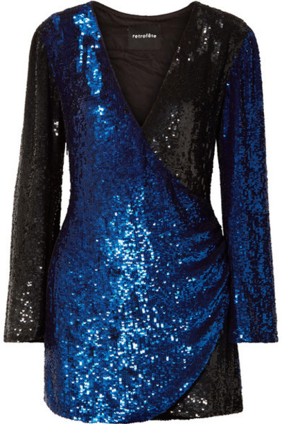 Retrofête - Christine Wrap-effect Two-tone Sequined Satin Mini Dress - Blue