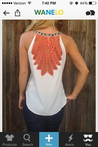 tank top tribal lace white