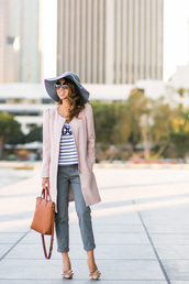 lace and locks,blogger,sunglasses,pink coat,floppy hat,striped top,cropped pants,top,pants,coat,shoes,bag,hat