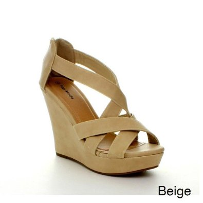 Amazon.com: Top Moda ELLA-18 Women's Gladiator Wedge Heel Sandals, Color:BEIGE, Size:8: Shoes