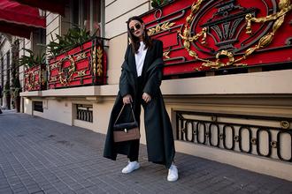 fashion vibe blogger pants jacket coat shoes bag sunglasses winter outfits sneakers suit