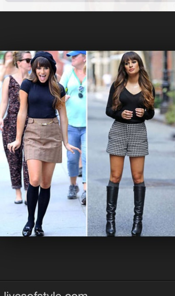 lea michele glee skirt nerd fall outfits shoes shorts shirt