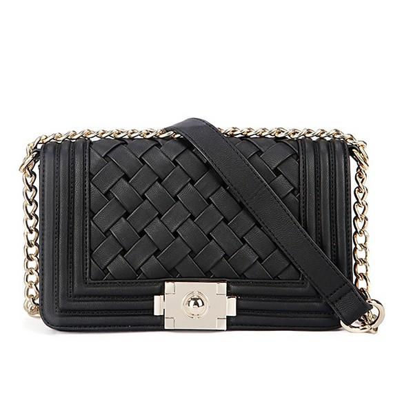 Shoulder Bag With Plaited Leather Panel