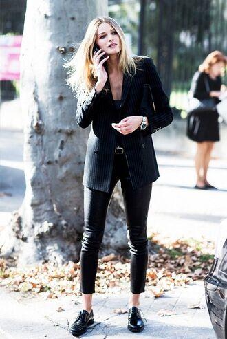 shoes black blazer belt skinny jeans oxfords blogger