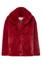 jacket,faux fur jacket,fur jacket,fur,faux fur,red