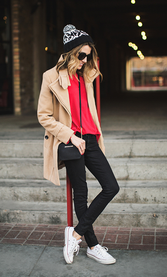 hello fashion blogger coat red sweater converse black jeans camel coat pom pom beanie winter outfits winter coat