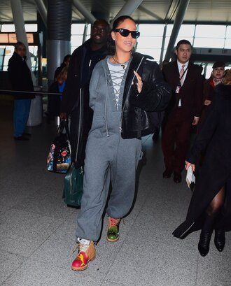 jumpsuit sweatshirt sweatpants rihanna grey boots pumps shoes