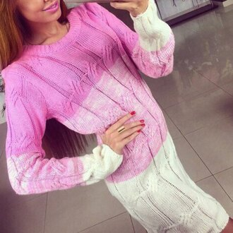 dress pink sweater dress long sleeves knitwear white trendy cool stylish girly fashion warm cozy graceful round collar long sleeve color block sweater dress for women