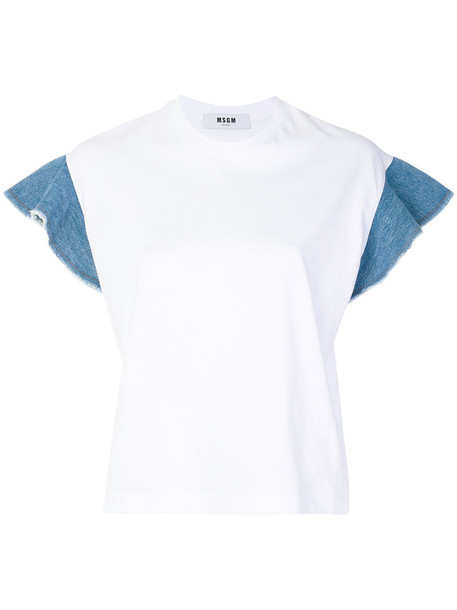 t-shirt shirt t-shirt ruffle women white cotton top