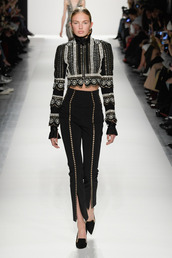 pants,jonathan simkhai,romee strijd,fashion week 2017,high waisted,runway,ny fashion week 2017,top,nyfw 2017