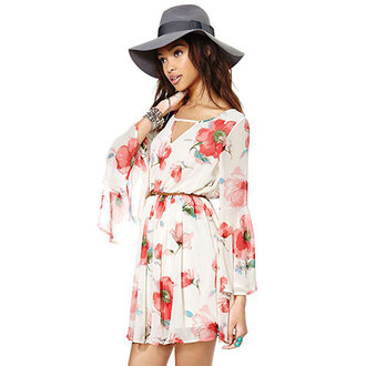 dress floral flowers cute dress cute girly tropical hat red dress white dress white jewelry bracelets floral tank top floral dress hippie hipster coachella indie