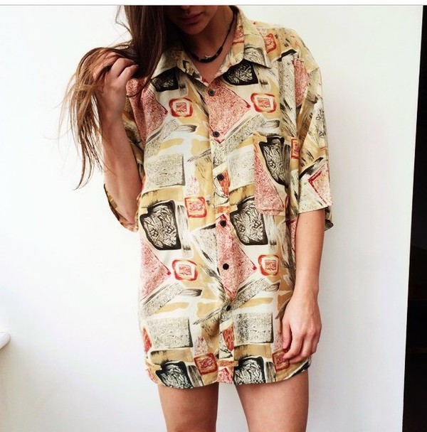 vintage oversized retro fall outfits vintage shirt autumn/winter dress