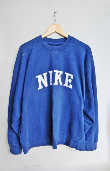 logo sweater nike vintage navy blue