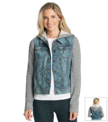 Relativity® French Terry Sleeve Hooded Denim Jacket | Younkers