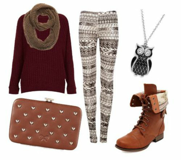 leggings boots clutch scarf