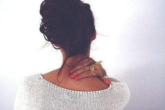 sweater loose fit sweater gold ring jewels brunette loose knit sweater cozy style fashion sweet