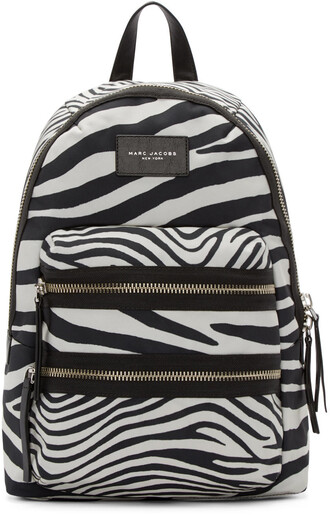 zebra backpack white black off-white bag