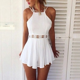 romper summer dress white pretty lace cute necklace white romper cut-out blanco midriff beach outfit summer outfits tan hot open front white dress dress classy girl white lace romper mini dress cream dress summer tumblr fashion vibe flowers white summer flawless short short dress shorts date outfit