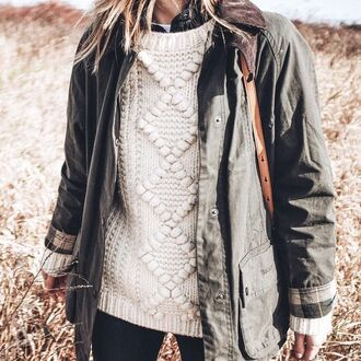 sweater tumblr white sweater cable knit white cable knit sweater parka jacket army green jacket sweater weather