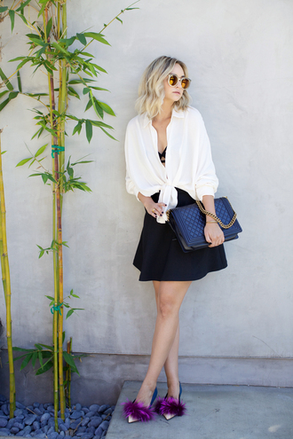 late afternoon blogger shirt underwear skirt shoes sunglasses jewels bag