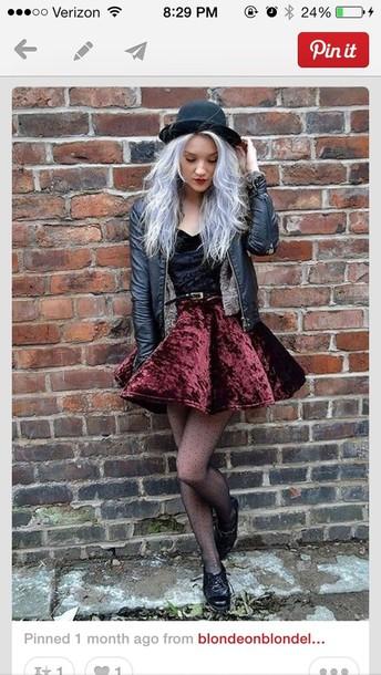 skirt grunge soft grunge velvet pastel hair cute like the hat leather jacket need in my life top jacket hat dress velvet dress grunge wishlist grunge dress velvet skirt edgy hipster punk burgundy skirt