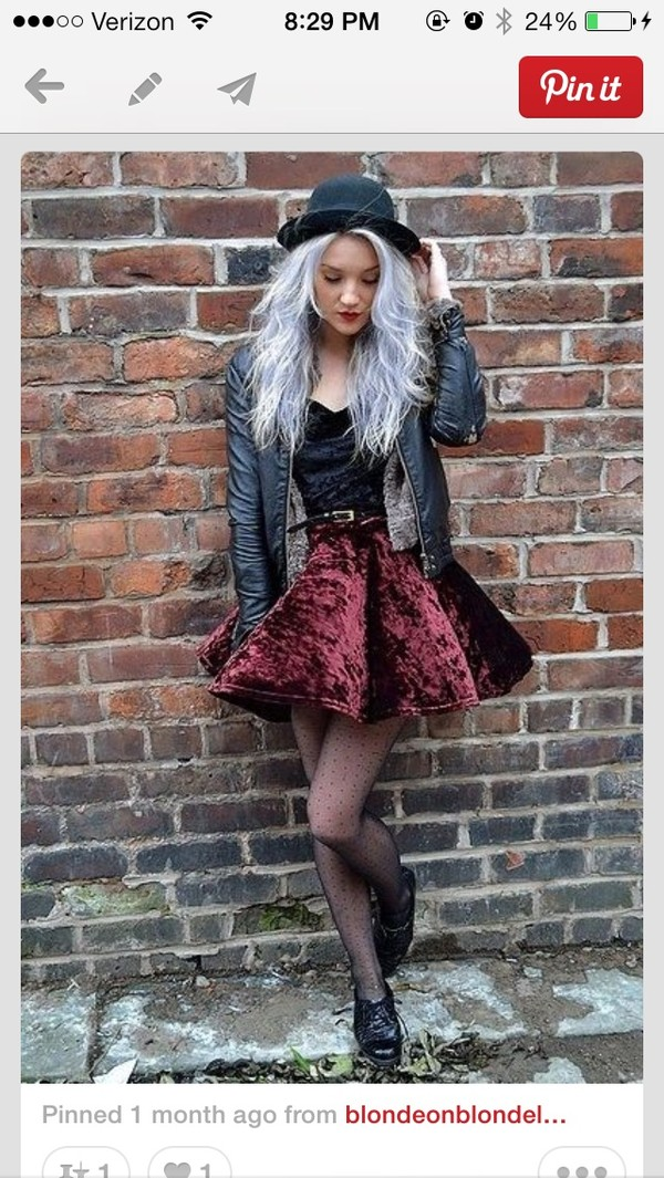 skirt grunge soft grunge velvet pastel hair cute like the hat leather jacket need in my life top jacket hat dress velvet dress grunge wishlist grunge dress velvet skirt edgy hipster punk burgundy skirt