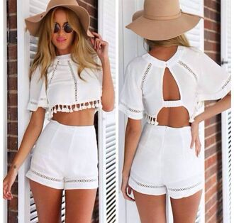 top romper two-piece hat jumpsuit white shirt hipster hipster shirt coachella withe shorts glasses crop tops tan fashion boho sexy hot mns dress white romper