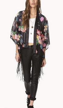 Flowers Fringed Kimono  - Juicy Wardrobe
