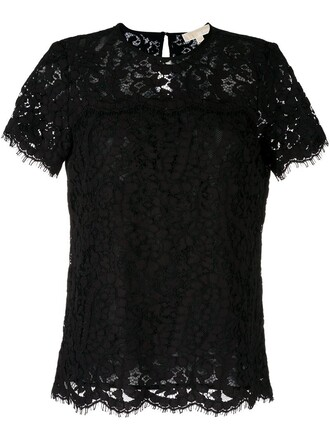 t-shirt shirt women lace cotton black top