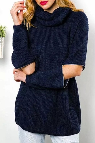 sweater zip navy casual warm fall outfits winter outfits turtleneck knitwear