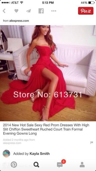 red dress sweetheart strapless slit gown slit dress