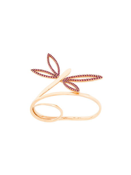 Anapsara rose gold rose women dragonfly ring gold grey metallic jewels