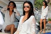 dress,white dress,selena gomezs blouse,romper,selena gomez,white romper,lace,beach