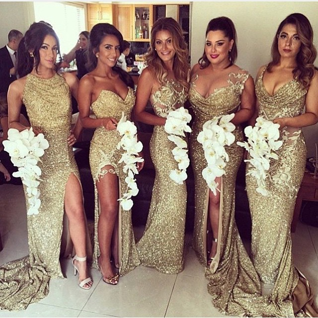 885cd6a4f1f Aliexpress.com   Buy Gold Sequins Bridesmaid Dress Sexy High Leg Slit Plus  Size Club Dresses Cheap ...