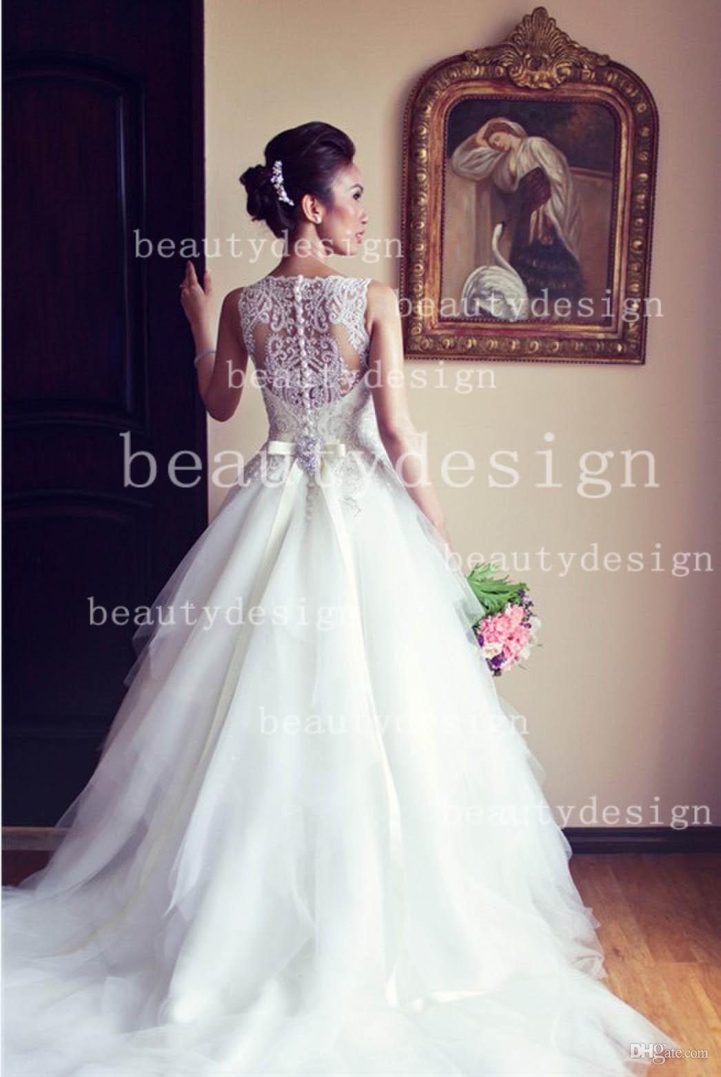 button back beaded sweep train bridal gowns wd0534 dhgate