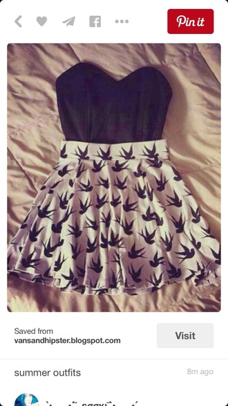 skirt black and white birds pattern style preppy high waisted skirt skater skirt fashion outfit summer outfits