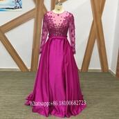 dress,2017 evening dress,fuchsia evening dresses,arabic evening dresses,long sleeves evening dreses,custom evening gown,long satin evening dresses