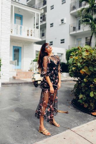 natalie off duty blogger sunglasses dress shoes sandals see through dress midi dress