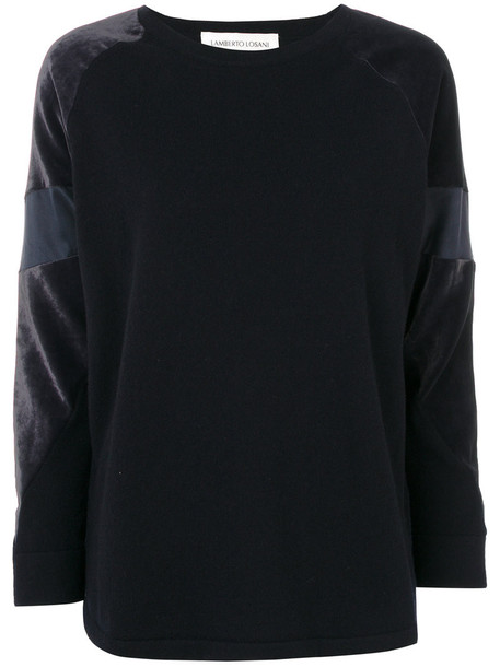 Lamberto Losani - panelled sleeves sweater - women - Silk/Cashmere/Virgin Wool - M, Blue, Silk/Cashmere/Virgin Wool