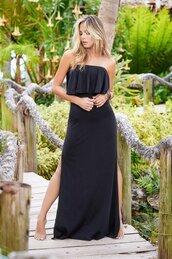 dress,slits on the sides,mapalé,black dress,long dress,removable straps,adjustables straps,strapless,bikiniluxe