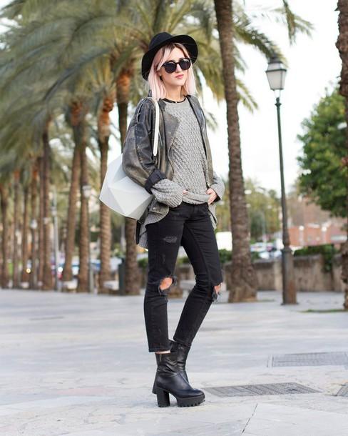 mikuta now blogger sweater jeans shoes hat bag