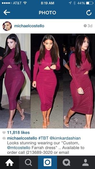 dress kim kardashian dress burgundy kim kardashian two-piece